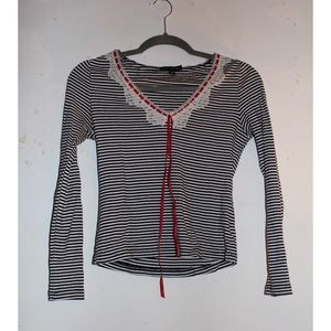 Anthropologie Tops - Striped top with lace detailing