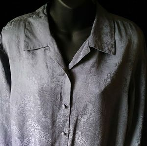 Anna And Frank Tops - Anna and Frank grey silk blouse- size M