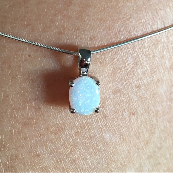 sterling silver simple white lab opal necklace chain 16