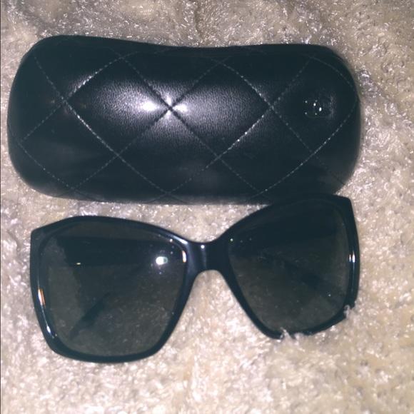 941c7faf9ae CHANEL Accessories - Chanel Glitter Lens Black Sunglasses