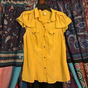 Anthropologie Maeve Yellow Top size 14