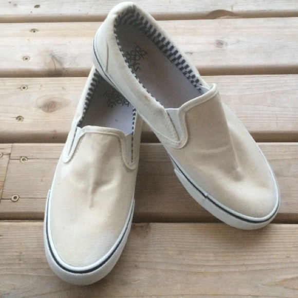 Off white canvas slip ons 9fafa71edb7a