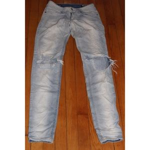 D Blue ripped light-wash jeans