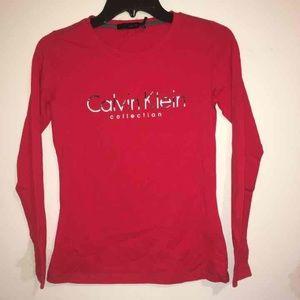 Calvin Klein Collection Tops - Calvin Klein Red Logo Long Sleeve Shirt Small