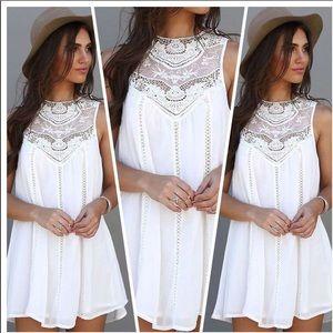 Mini A-Line White Lace Dress