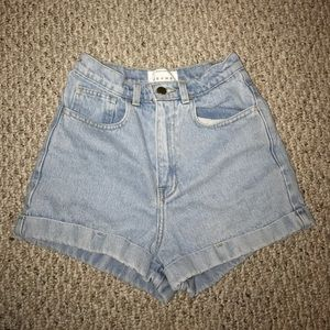 American Apparel high waisted jean cuff shorts