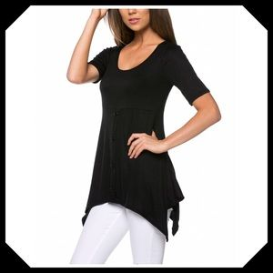 🌺Coming🌺 Black Button Sidetail Tunic