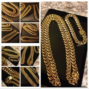 Other - [SET] 14K Gold Plated Cuban Necklace & Bracelet