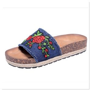 Navy Embroidered Slide Sandal