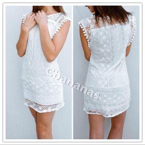 Dresses & Skirts - Pom-Pom Mini White Dress