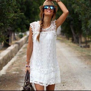 Pom-Pom Mini White Dress