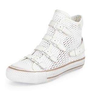 Ash Shoes - Ash buckled mesh high top sneaker White