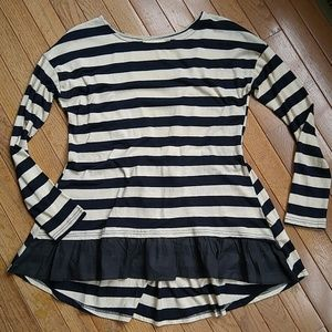 Areve Tops - Stripe and Ruffle Tie-back Top