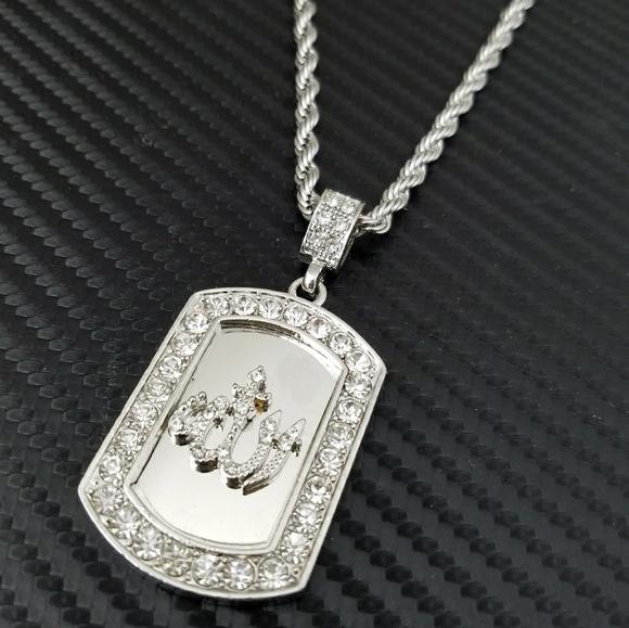 Accessories white gold pt cz allah dog tag pendant necklace poshmark m593956ada88e7d8444002fb6 aloadofball Gallery