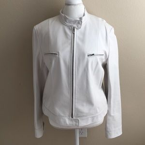 Lafayette 148 New York Jackets & Blazers - NWOT Lafayette 148 White Leather Moto Jacket