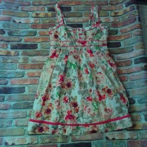 new directions Dresses & Skirts - Floral dress pleated bib front adjustable straps