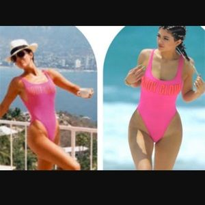 Hot pink body glove 80s one piece swimsuit NWT
