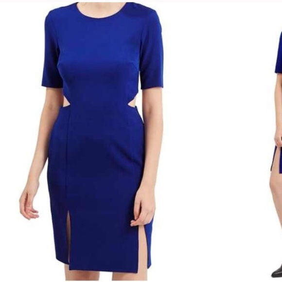Topshop Womens Navy Blue Cut Out Side Bodycon Mini Summer Dress