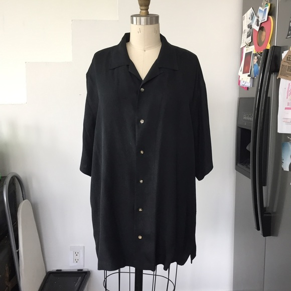 57 Off Tops 100 Silk Black Button Down Shirt From Lily