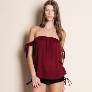 Off Shoulder Tie Sleeve Top BURGUNDY