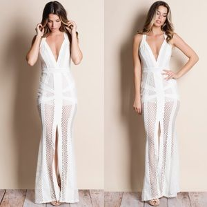 Mesh Maxi Dress with lining