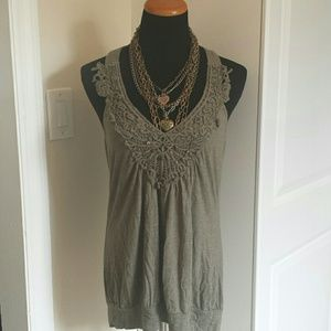 Eyeshadow Tops - Olive Green Crochet bust open back flowy tunic