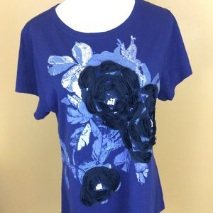 1 Madison Tops - Madison Blue Floral Beaded T Shirt Plus Size 1 X