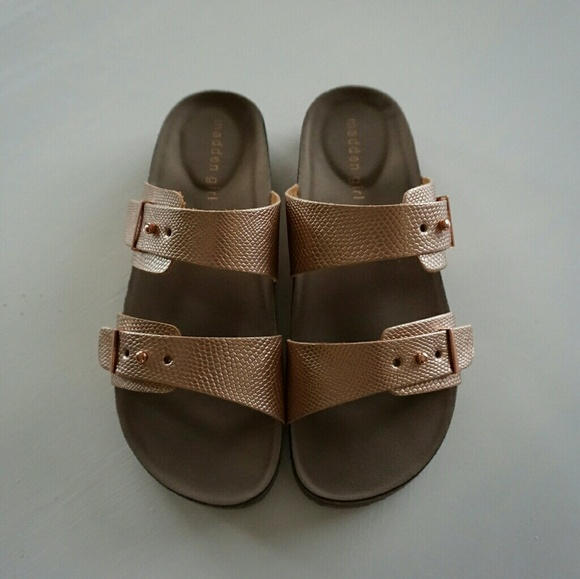74bc58b0eb91 MADDEN GIRL ROSE GOLD BIRKENSTOCK STYLE SANDALS.  M 593976932599fe887e0084be. Other Shoes you may like. Steve ...