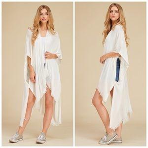 Cream Knit Kaftan Bikini Coverup Kimono Cardigan