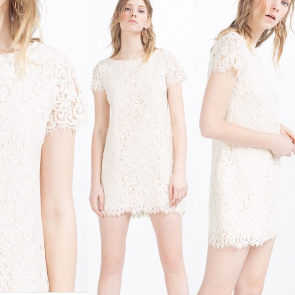 7ce63054 Zara Dresses | White Mini Lace Dress Xs | Poshmark