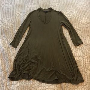 Poof! Dresses & Skirts - Moss green choker style dress