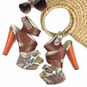C. Label Shoes - NWOB Brown Orange Snakeprint Platform Heel Sandals