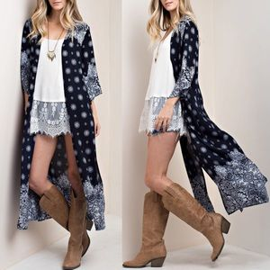 BETH Light Long Cardi - NAVY