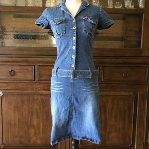 Hot Kiss Dresses & Skirts - HOT KISS Denim Dress Size M Stretchy Collared