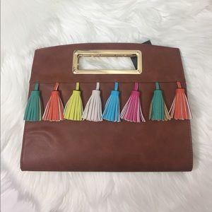 Handbags - Brown Faux Leather Tassel Handbag Purse