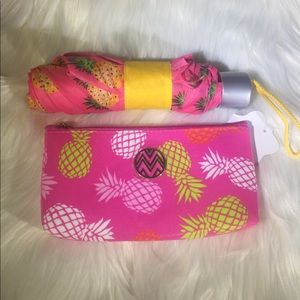 Pink Pineapple Umbrella and Pouch