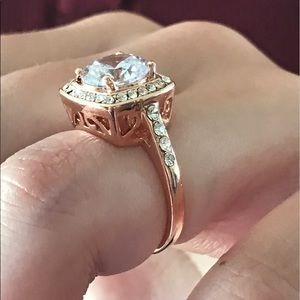 Jewelry - 18k Rose gold platinum triple plated CZ ring AAA