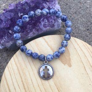 handmade Jewelry - Handmade Sodalite Cross Bracelet