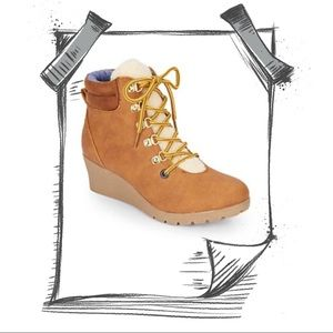 Other - GIRLS LACE UP WEDGE BOOTS