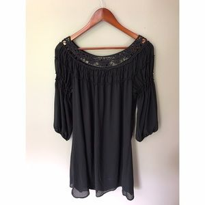 *Three Hearts* Black Lace dress sheer outer layer