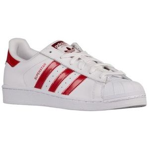 adidas Shoes - 🌸Sale🌸 NEW Adidas Superstar Metallic White/Red