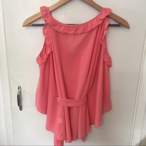 Coral/ Peach Pink Off The Shoulder Ruffle