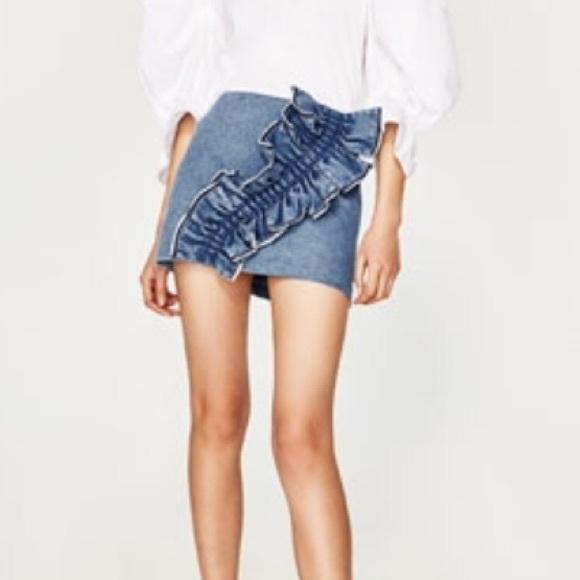 c0bb8d36ae Zara Skirts | Frilled Denim Mini Skirt | Poshmark