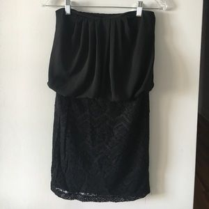 ICON Dresses & Skirts - Black Strapless Lace Bottom Dress
