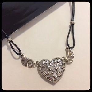 Jewelry - Heart Silvertone Cord Black Choker