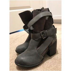 Report Shoes - Report Grey Buckle Buckled Ankle Boot Bootie Heel