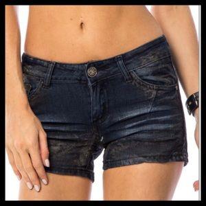Dark Blue Whiskered Denim Shorts