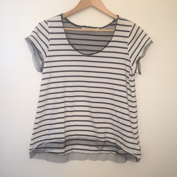 cf8ec07cb2 Anthropologie Tops   Pilcro And The Letterpress Reese Tulle Trim Tee ...