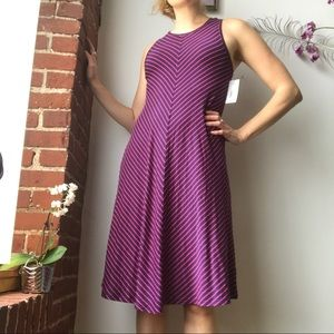 Ana soft navy & red striped east Summer dress NWT