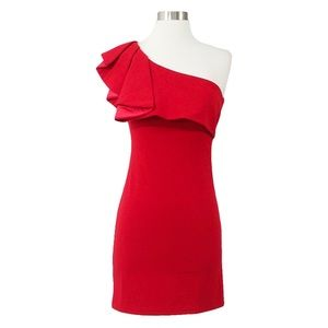 MBM Unlimited Dresses - Red One Shoulder Bodycon Dress